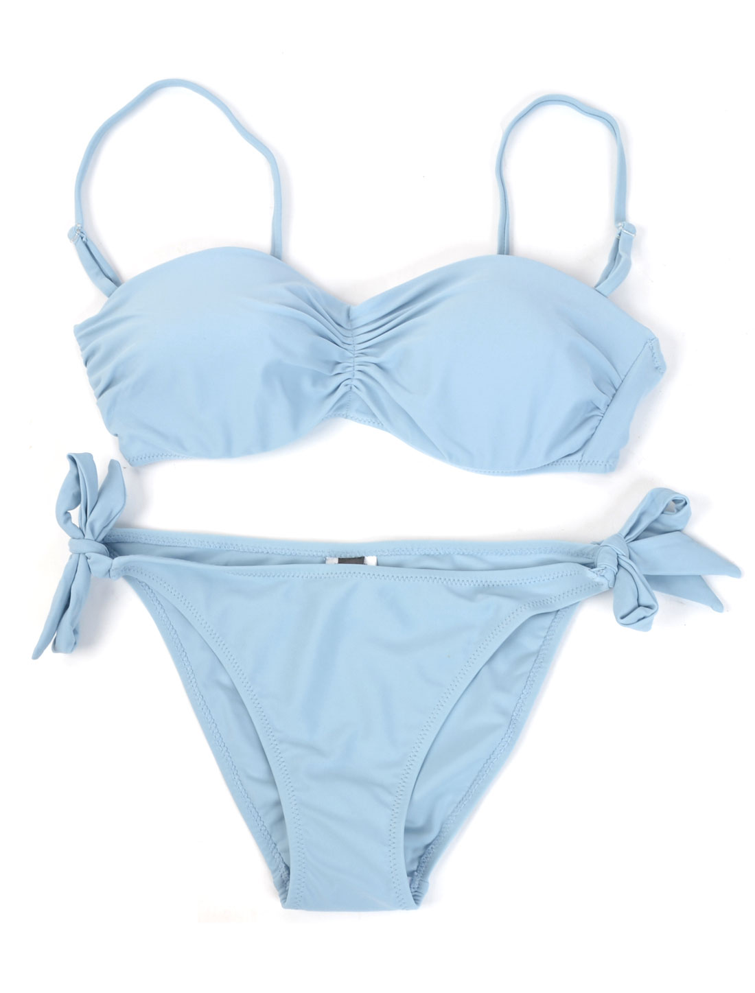 Lady Strap Bikini Bottom + Lightly Pad Underwired Bra Sexy Swimsuit Light Blue L