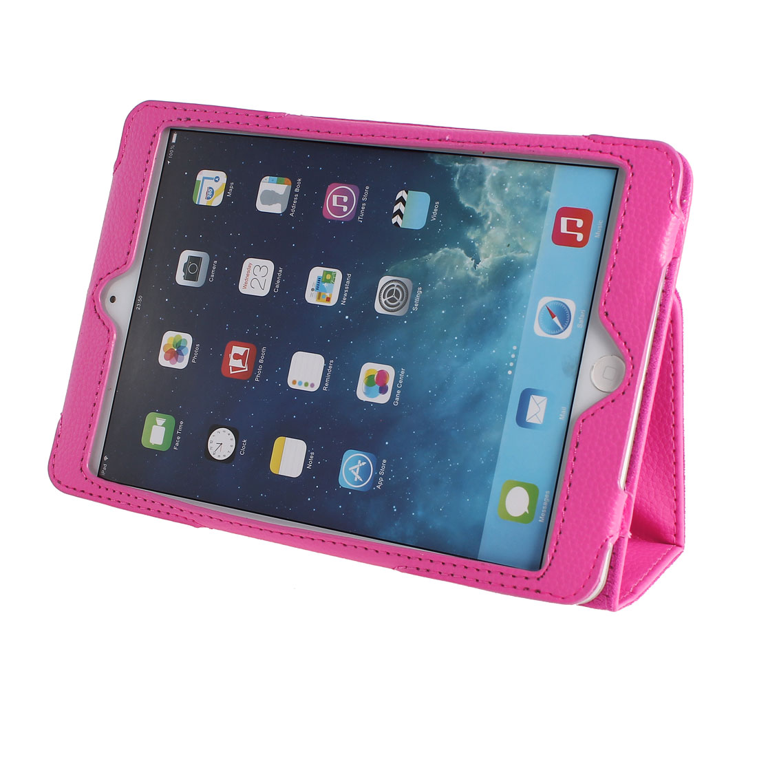 PU Leather Stand Magnet Folio Flip Tablet Protective Case Cover Pink for iPad Mini 1 2