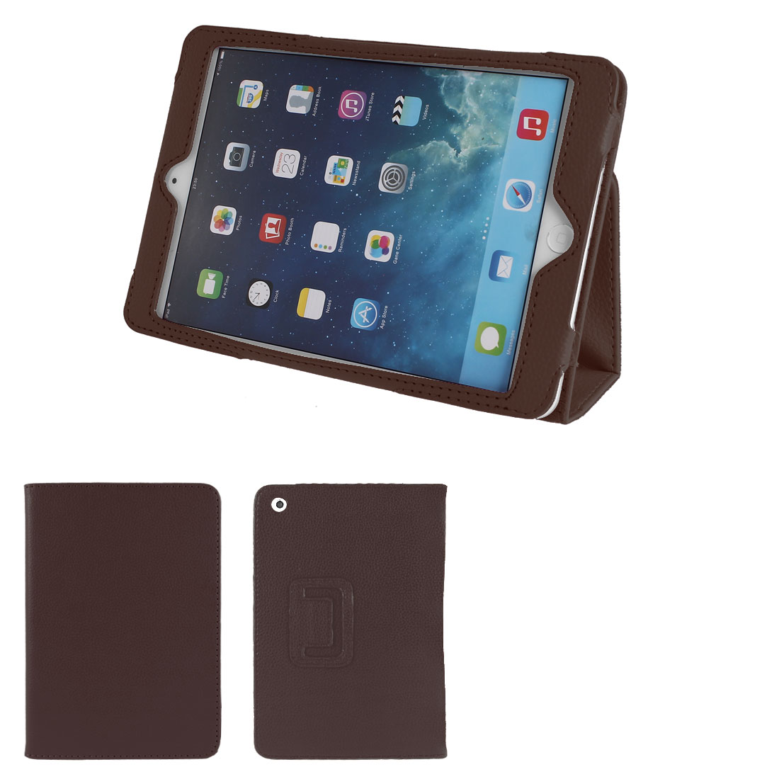 PU Leather Stand Magnet Folio Flip Tablet Protective Case Cover Brown for iPad Mini 1 2