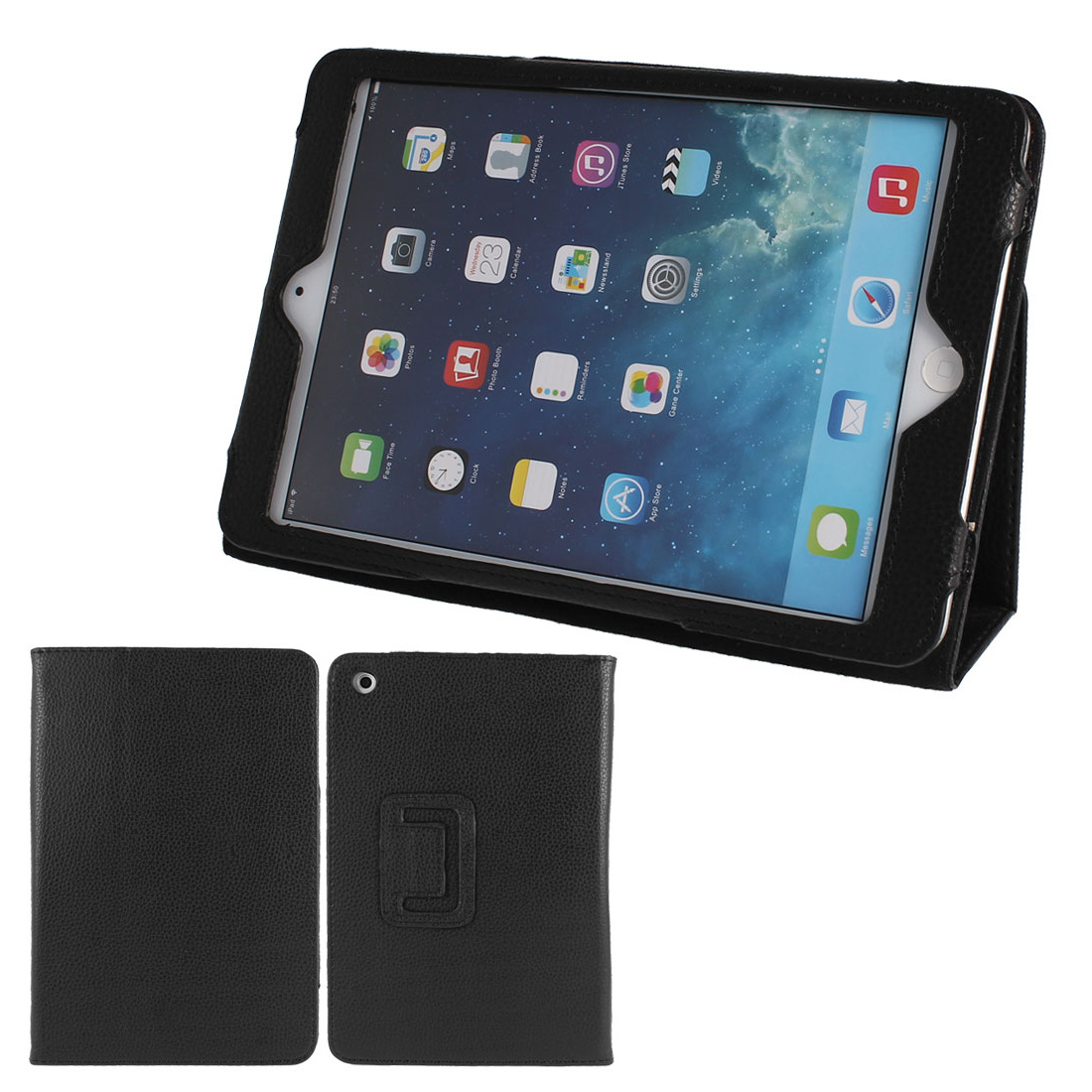 PU Leather Stand Magnet Folio Flip Tablet Protective Case Cover Black for iPad Mini 1 2
