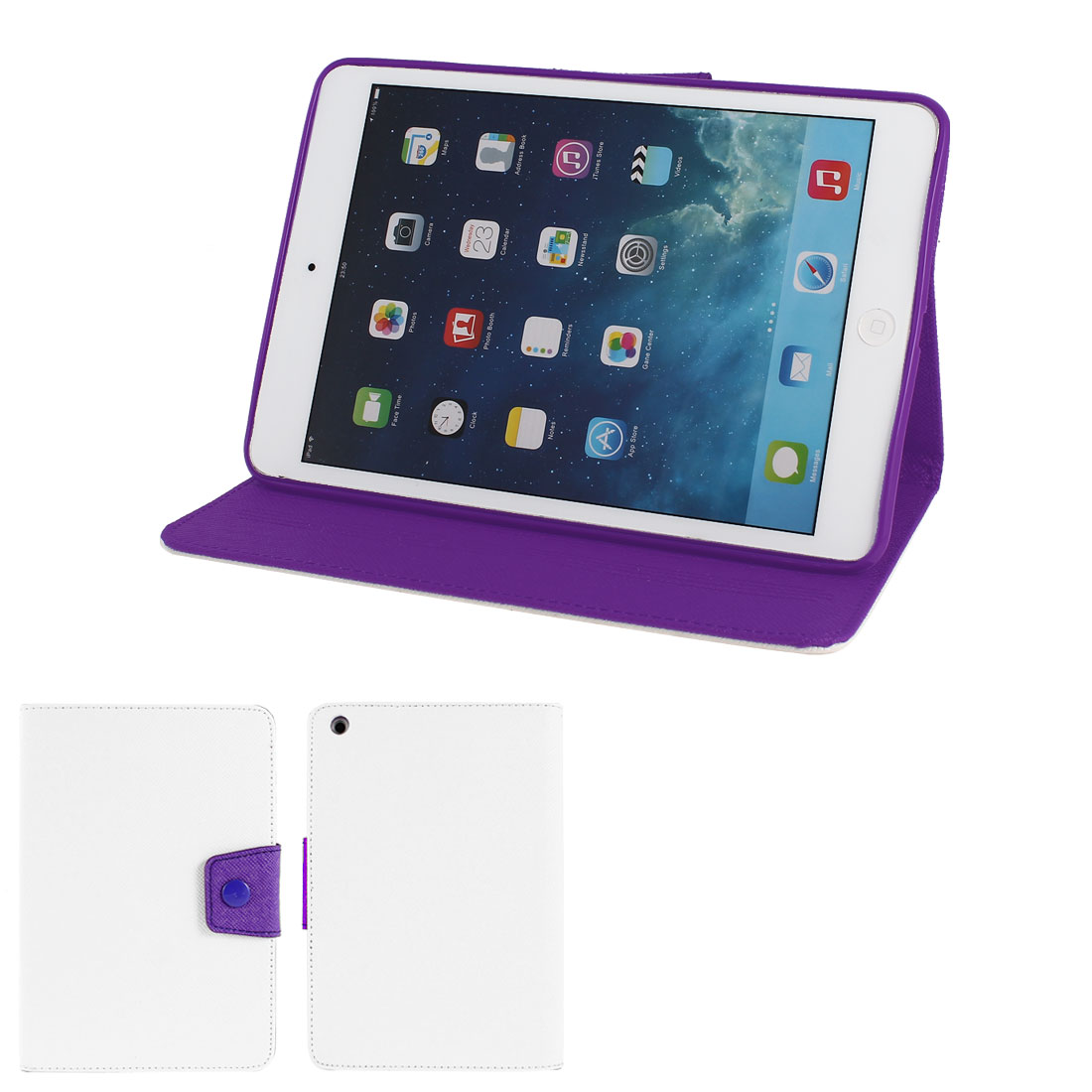 White PU Leather Purple Silicone Holder Folio Flip Stand Case Cover for iPad Mini