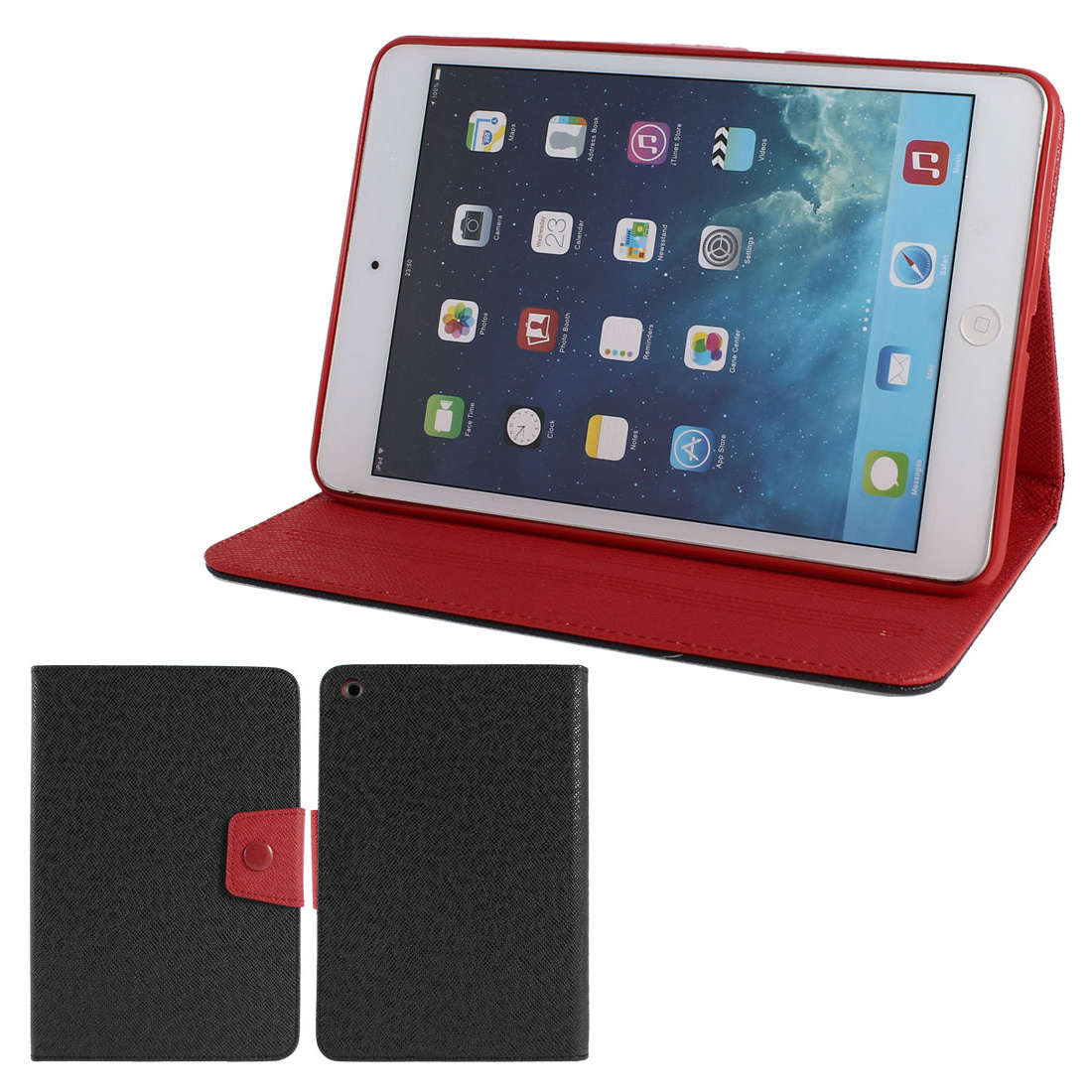 Black PU Leather Red Silicone Holder Folio Flip Stand Case Cover for iPad Mini