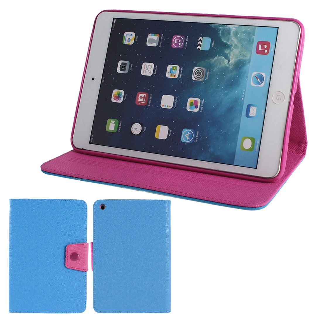 Blue PU Leather Fushia Silicone Holder Folio Flip Stand Case Cover for iPad Mini