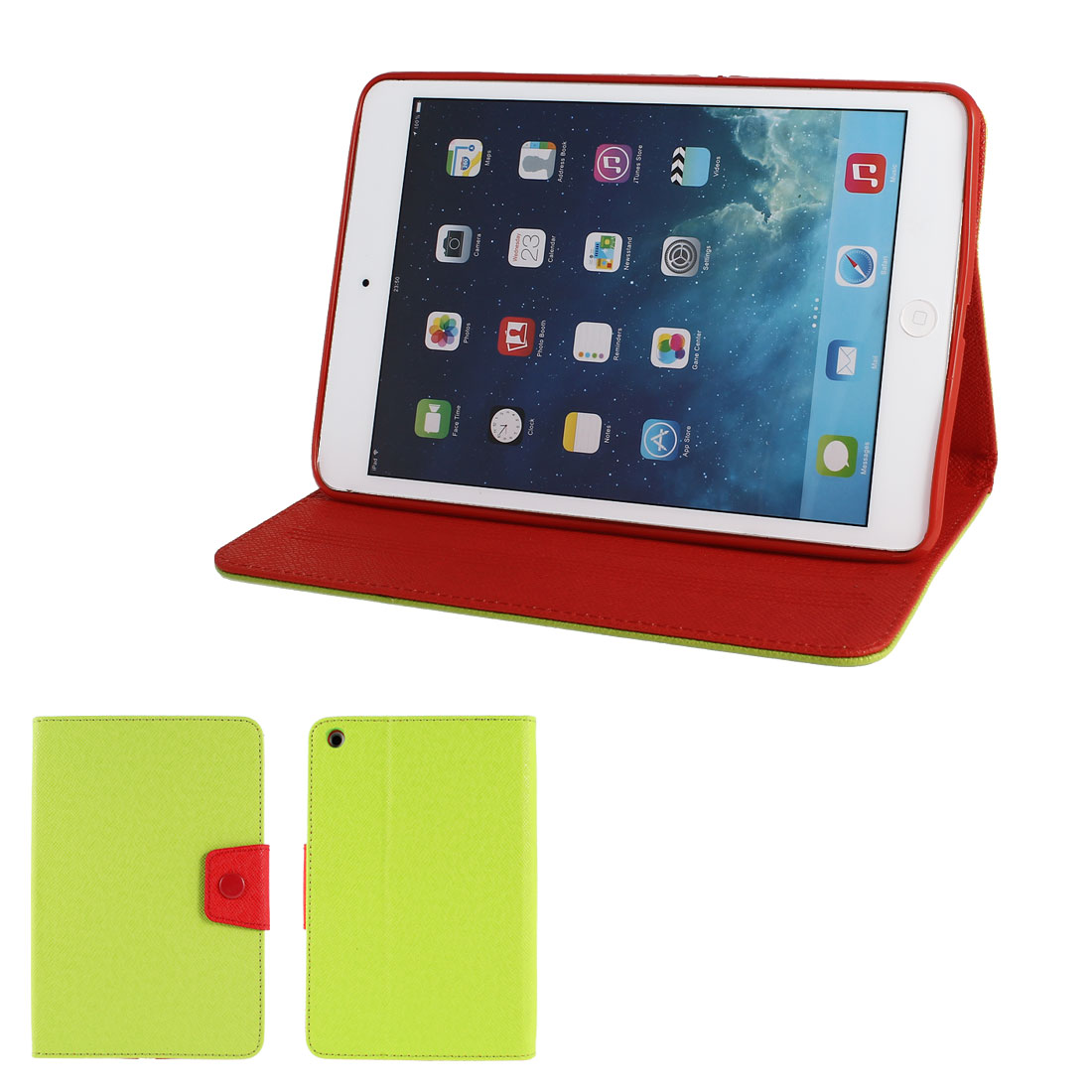 Green PU Leather Red Silicone Holder Folio Flip Stand Case Cover for iPad Mini