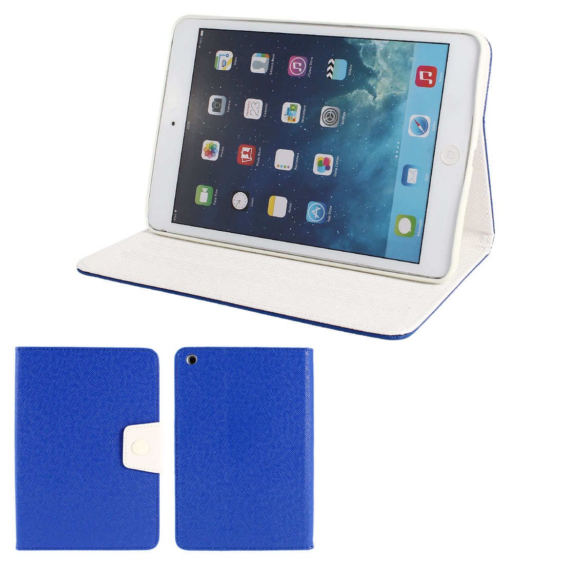 Blue PU Leather White Silicone Holder Folio Flip Stand Case Cover for iPad Mini