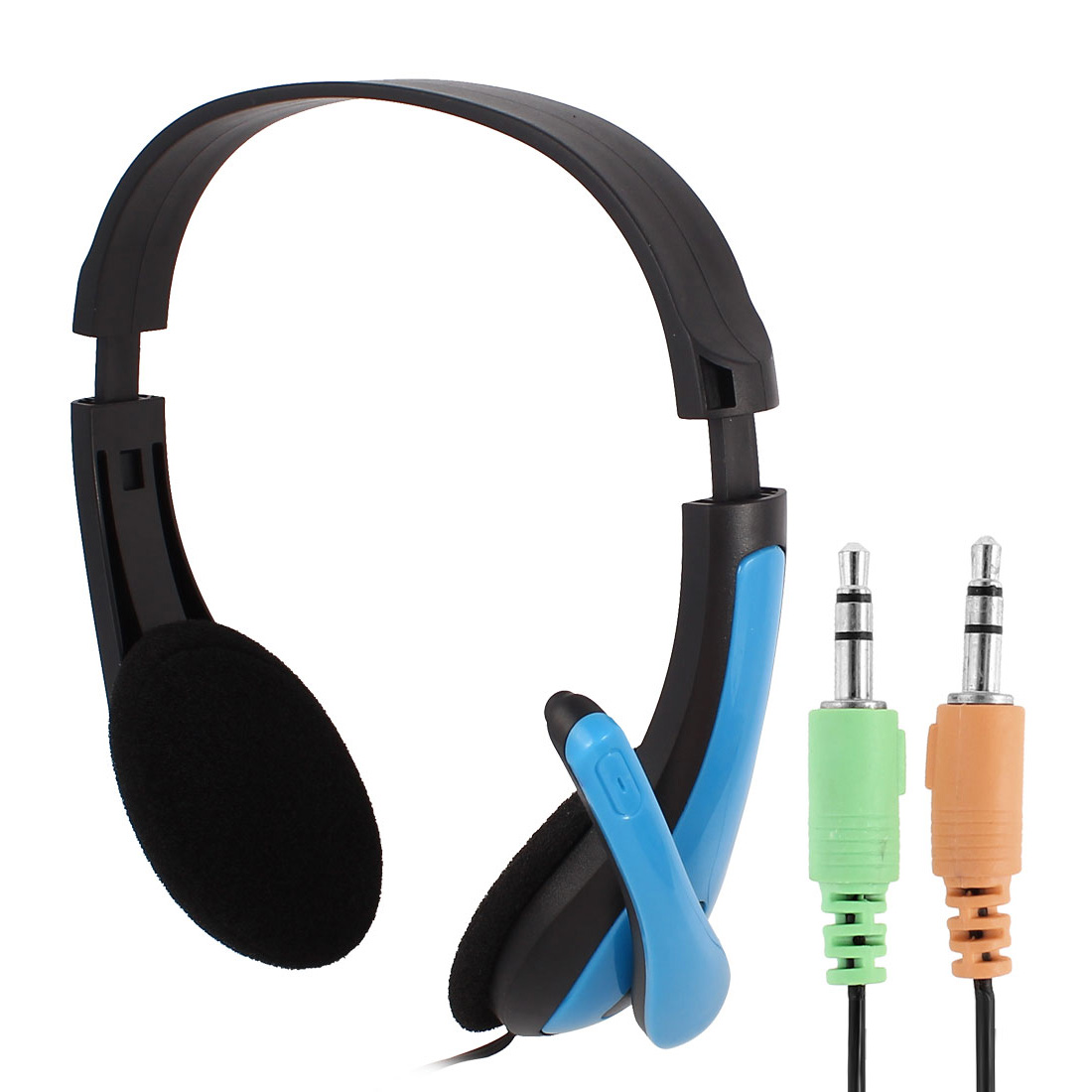 RP588 Blue Adjustable Headband Headset Stereo Headphone w Microphone for PC Computer