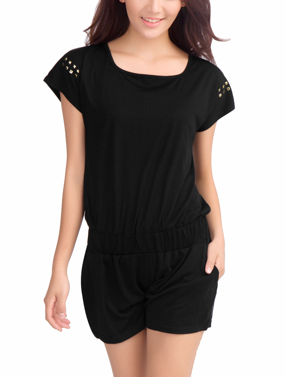 Ladies Studded Decor Sweet Stretch Waist Summer Romper Black XS