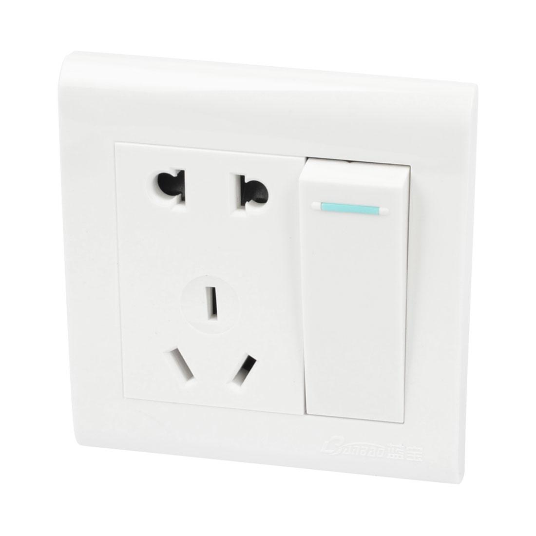 White Shell 3 Pin AU 2 Pin EU US Outlet Socket Single Gang Wall Panel 250VAC 10A