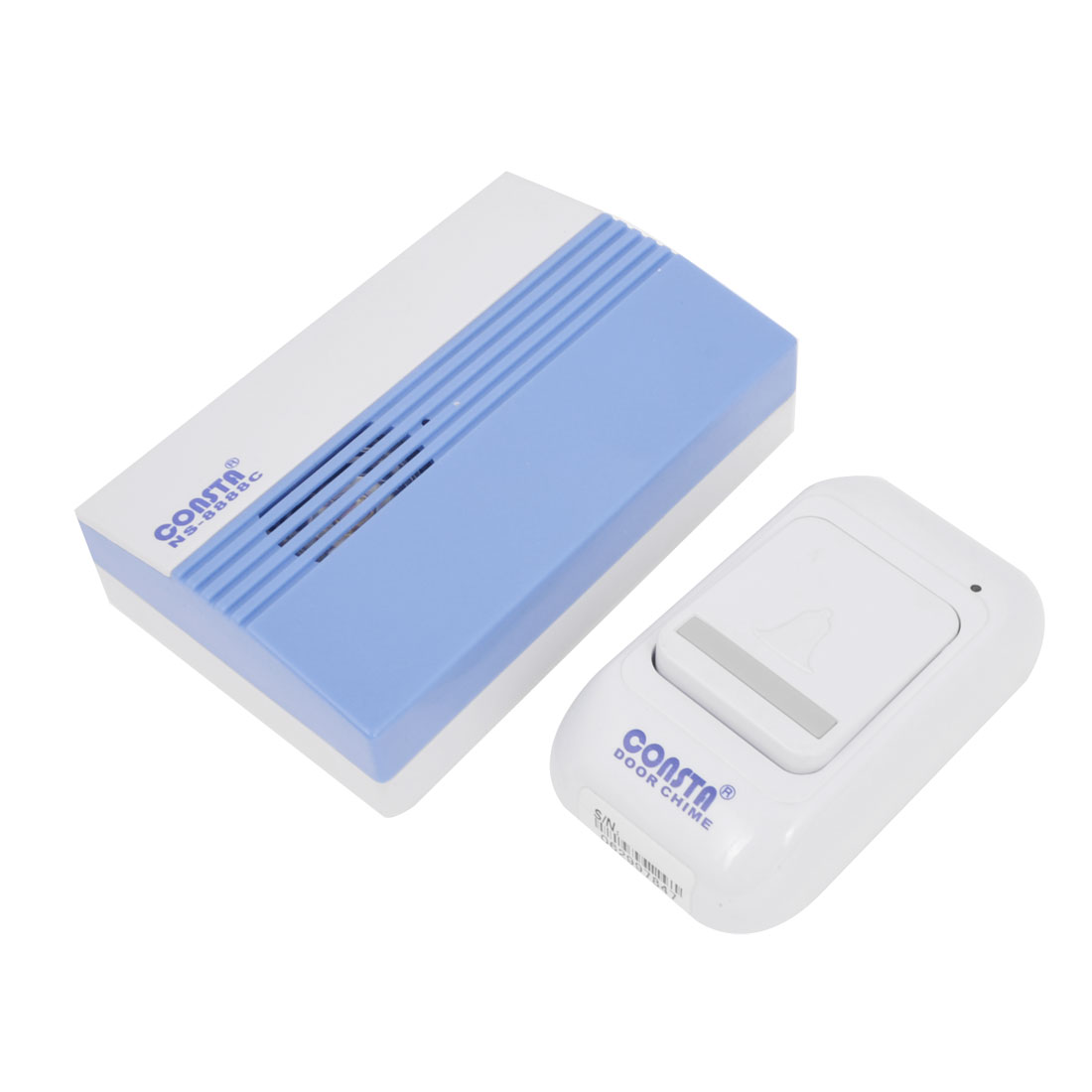 White Blue Plastic Wireless Door Bell Chime w Remote Control