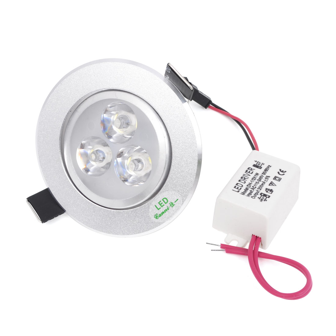 AC 100-240V White 3W 3 LEDs Ceiling Down Light Recessed Lamp w LED Driver