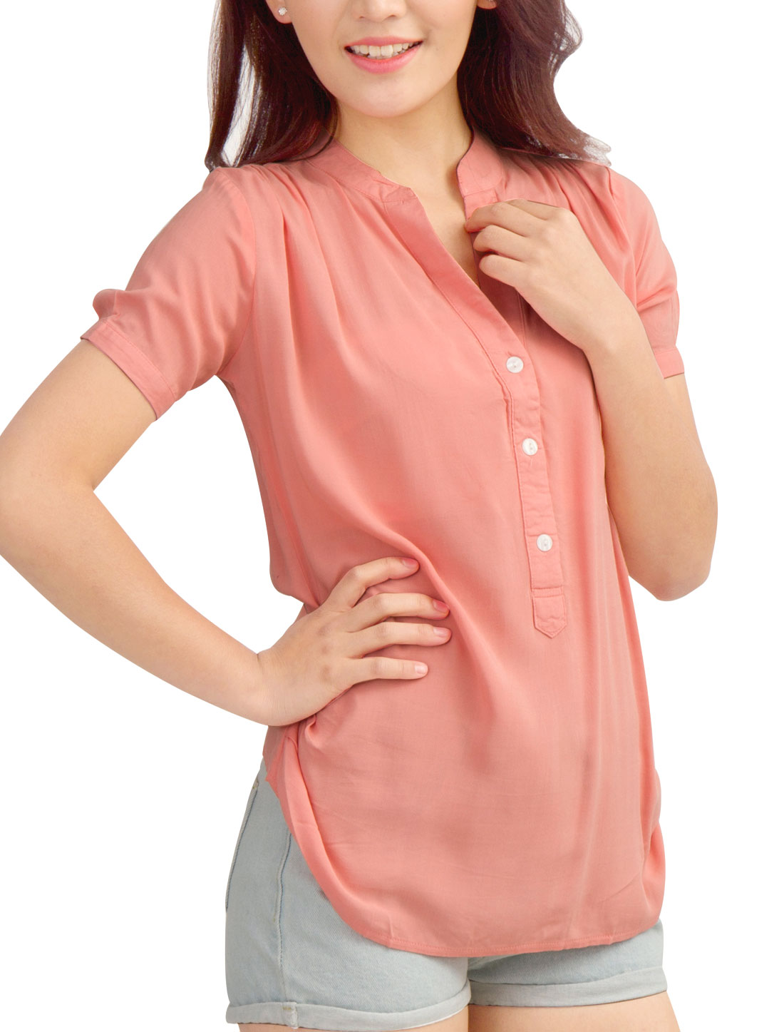 Women Three Buttons Closed V Neckline Stylish Top Shirt Pink S
