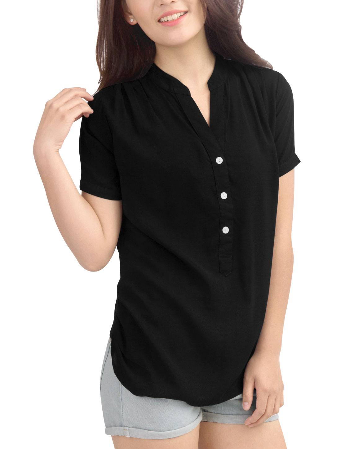 Women Ruched Side Gathered Detail Back V Neckline Chic Top Shirt Black XL
