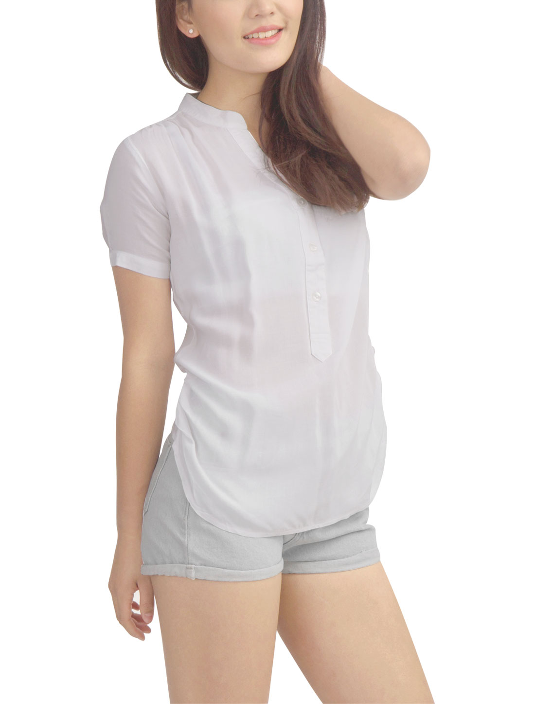 Ladies Fashion Asymmetric Hem V Neckline Soft Top Shirt White S