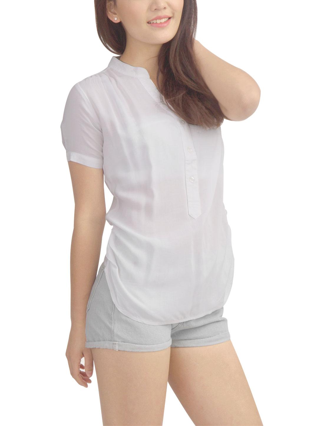 Ladies Casual Short Sleeve Three Button Closure Soft Top Shirt White XL