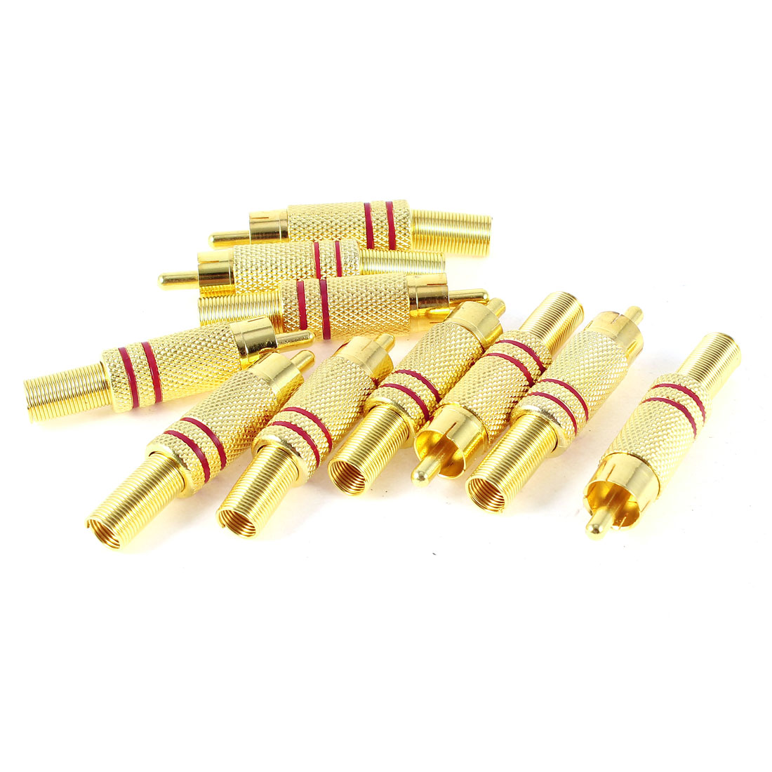 10 Pcs Gold Tone Red Metal Spring RCA Male Plug Audio Connector Adapter
