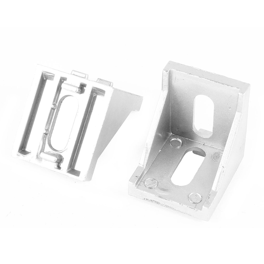 2 Pcs Silver Tone Metal 90 Degree Corner Angle Bracket 40mm x 40mm