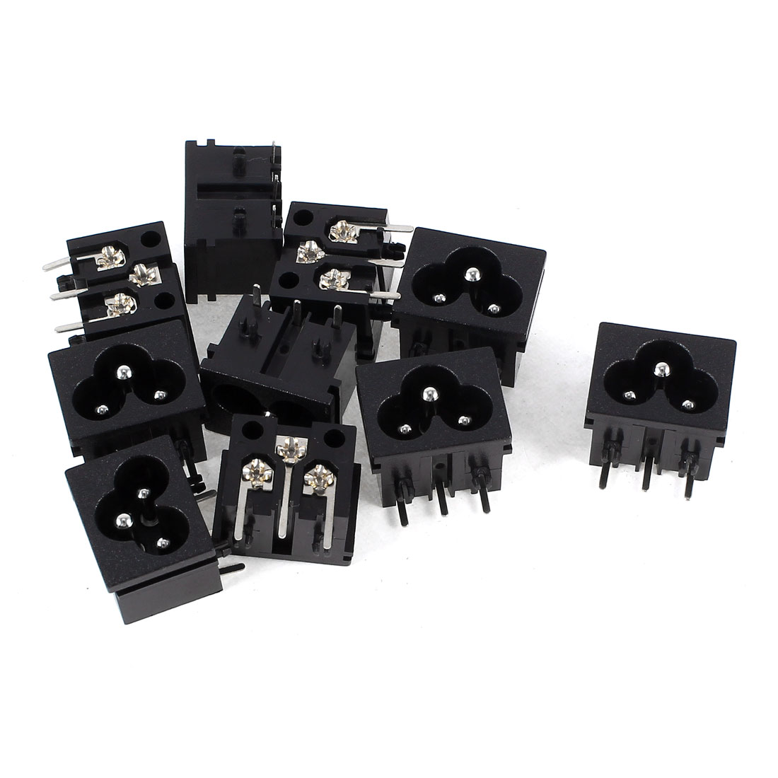 10 Pcs Black Plastic IEC320 Inlet C6 Power Adapter AC 250V/125V 2.5A/7A