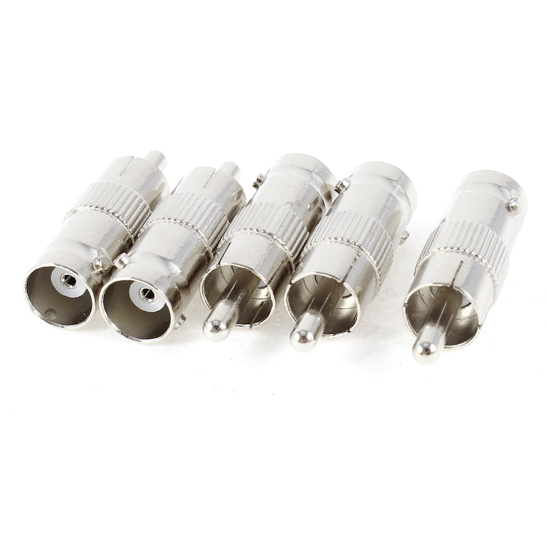 5 Pcs BNC Female to RCA Male AV Straight Adapter Connector Silver Tone