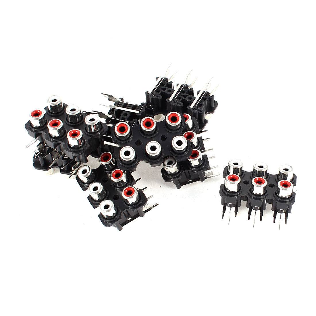 PCB Mount 6 Female RCA AV Concentric Socket Black Board 8 Pcs