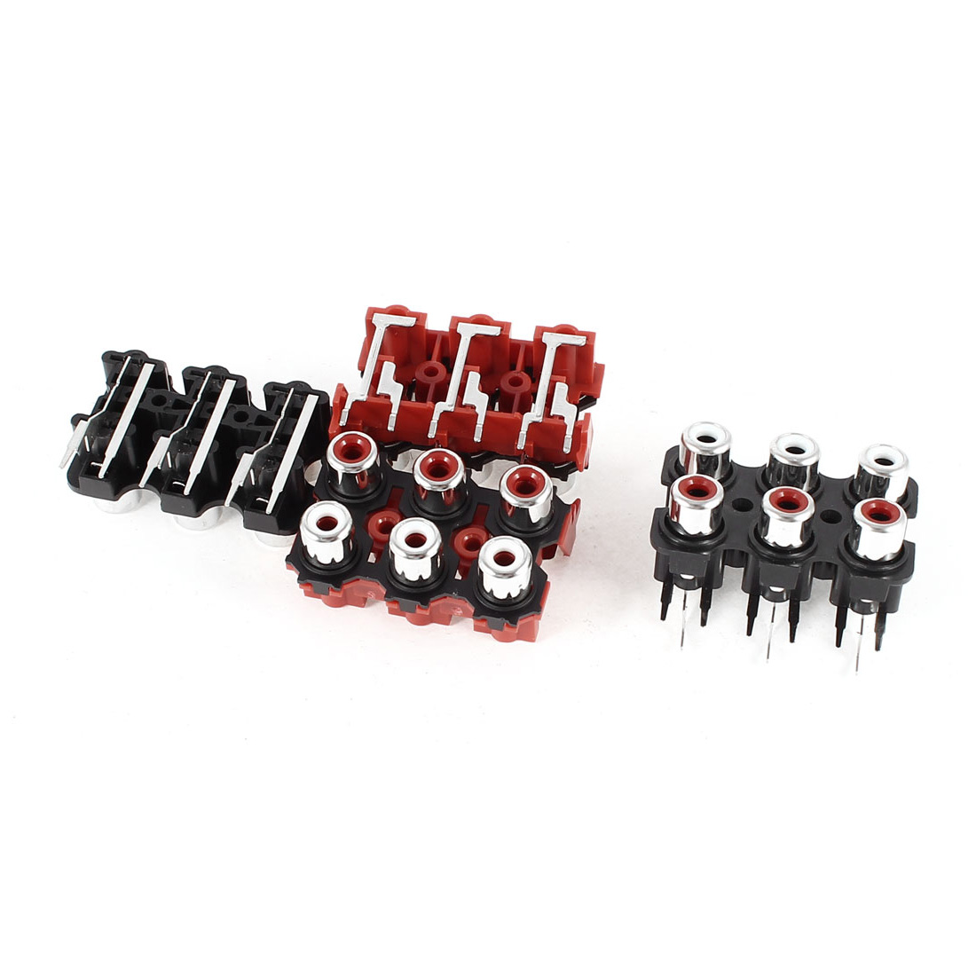 4pcs PCB Mount AV Concentric Outlet 6 RCA Female Socket Board Red