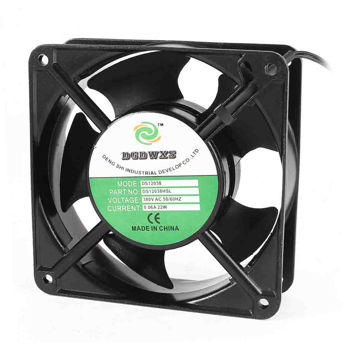 12cm x 3.8cm 2 Terminals AC 380V 0.06A Metal Frame AC Axial Cooling Fan