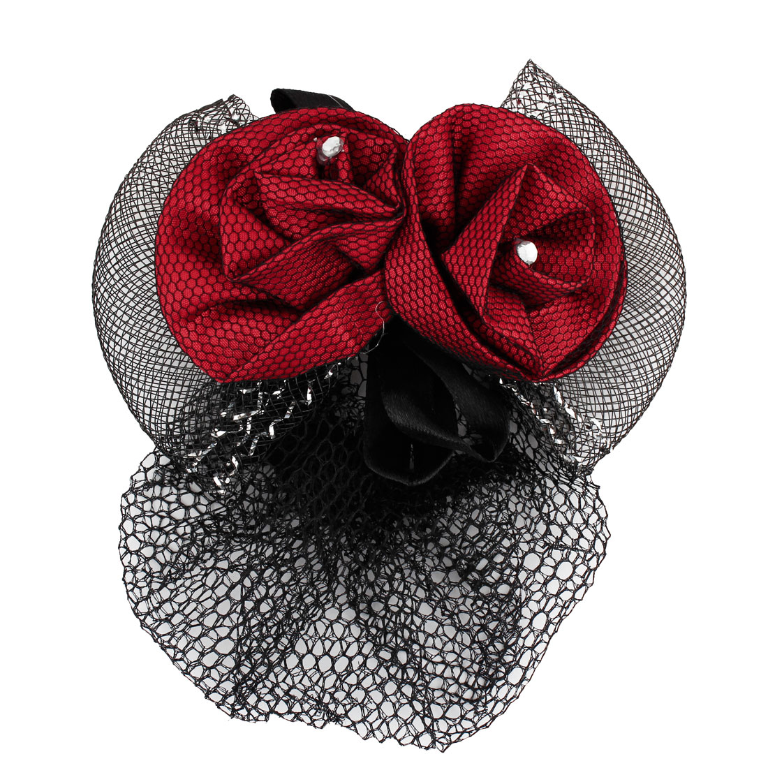 Lady Rhinestone Accent Flower BowKnot Hair Clip Snood Net Barrette Red Black