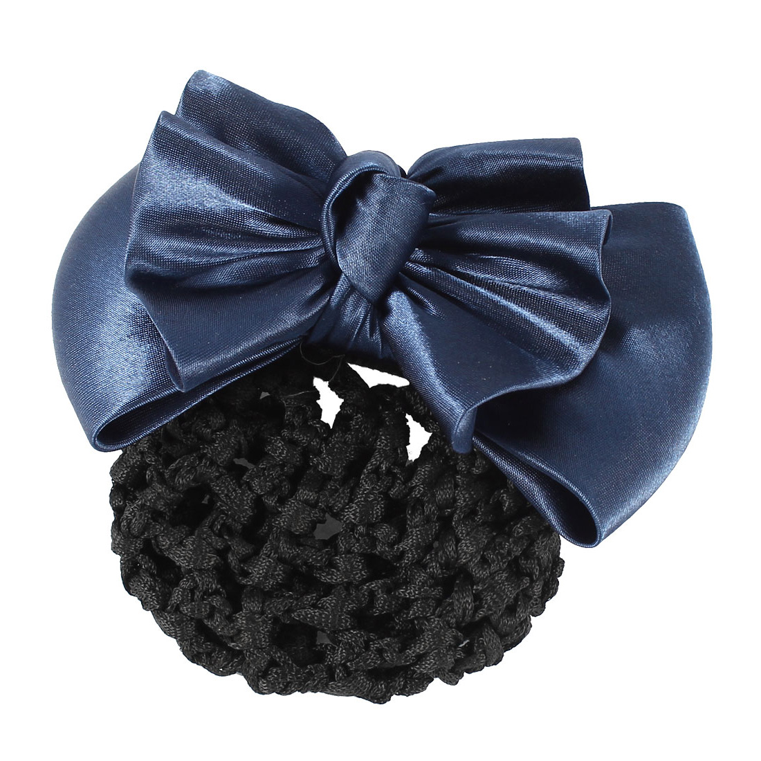 Dark Blue Two Layer Bowtie Decor Hair Clip Barrette w Black Snood Net