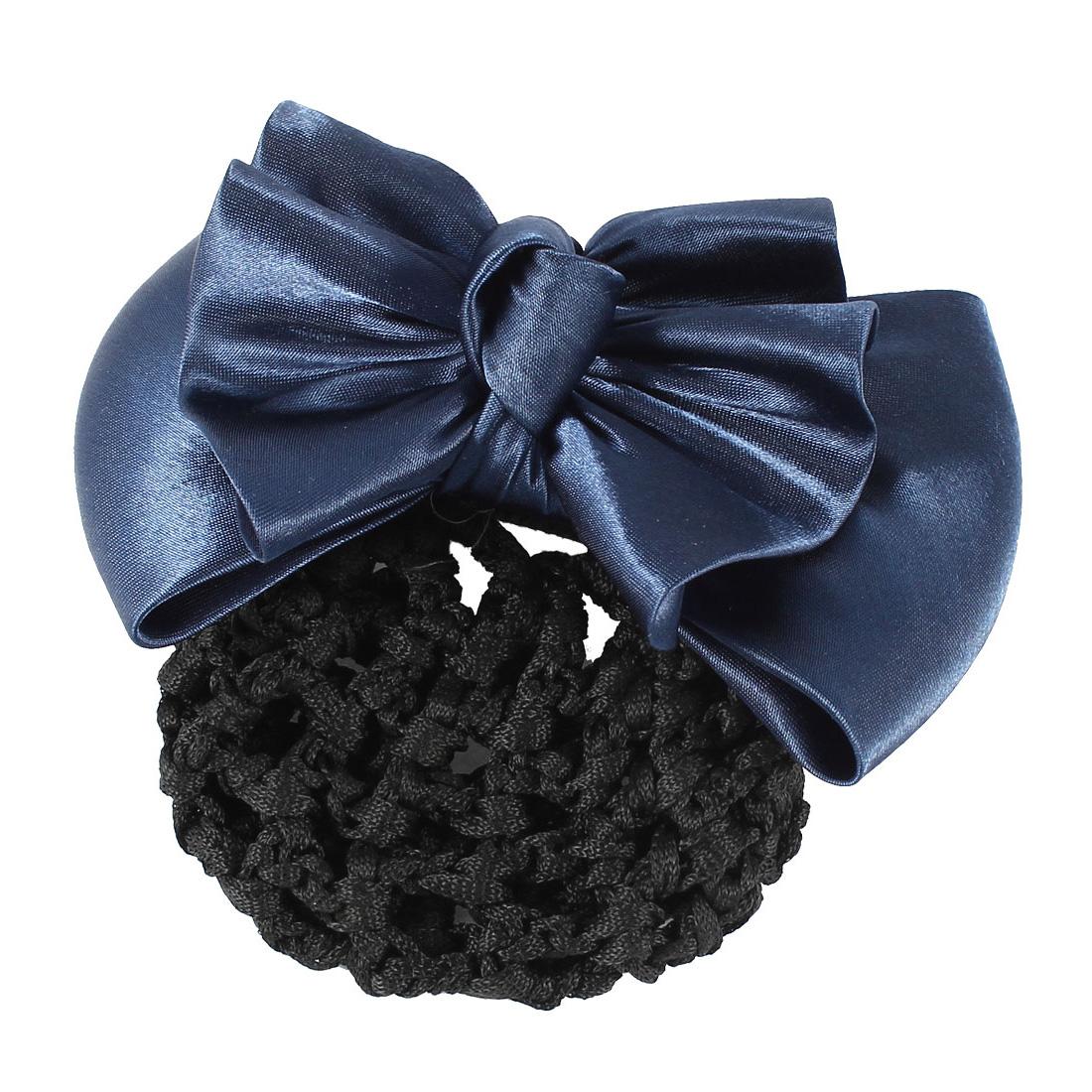 Dark Blue Two Layer Bowtie Decor Hair Clip Barrette w Black Snood Net