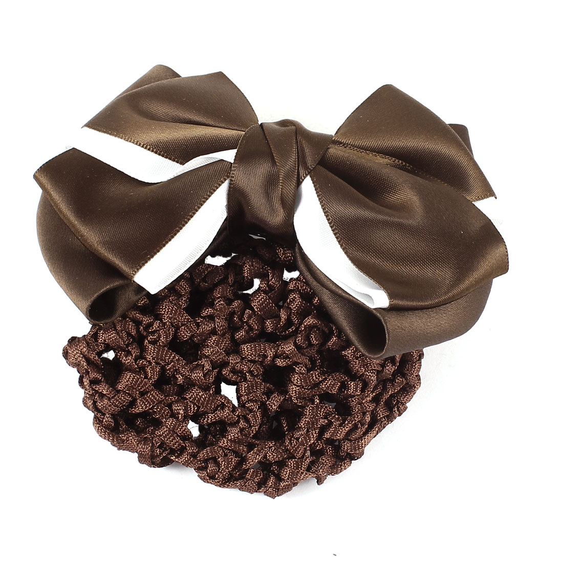 Coffee Color 2-layer Bow Barrette Hair Clip Bun Cover w Snood Net