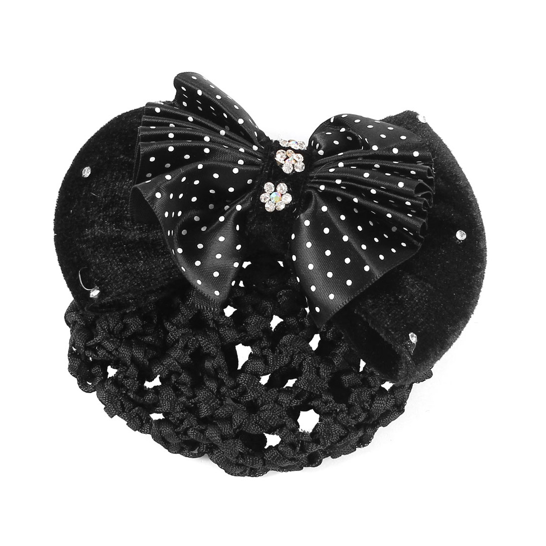 Lady Rhinestones Accent Flower Embellished Bowknot Hair Clip w Snood Net