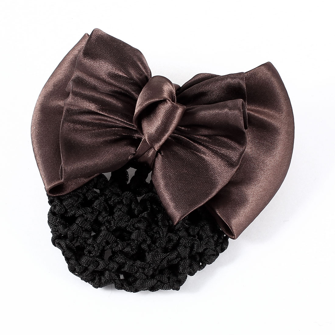 Hairdressing Coffee Color Bowknot Shaped Hair Clip w Snood Net