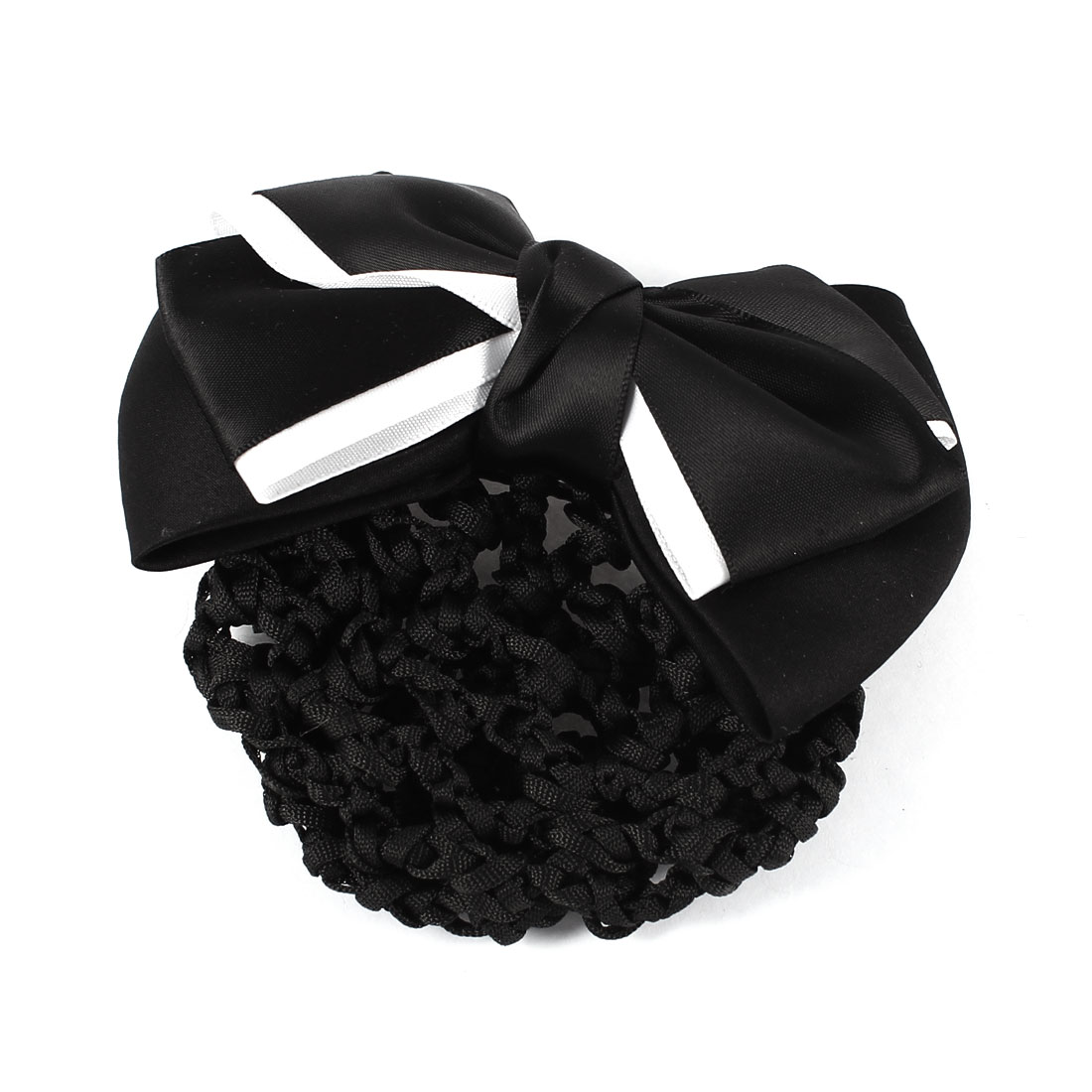 Lady Black Dual Layer Bowtie Design Hair Clip Barrette w Snood Net