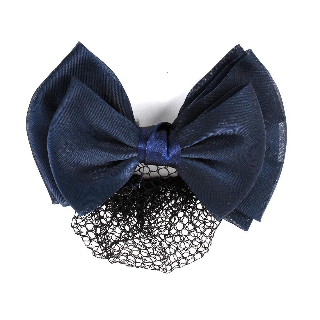 Dark Blue Three Layers Bowknot Barrette Hair Clip Snood Net