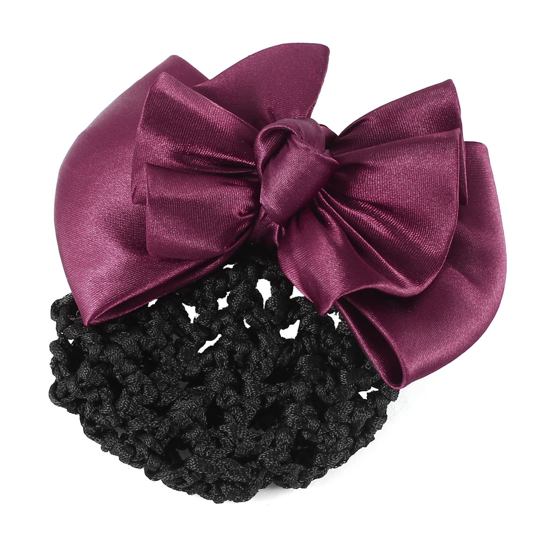 DIY Hairstyle Bowknot Shape Hair Clip Burgundy w Black Snood Net