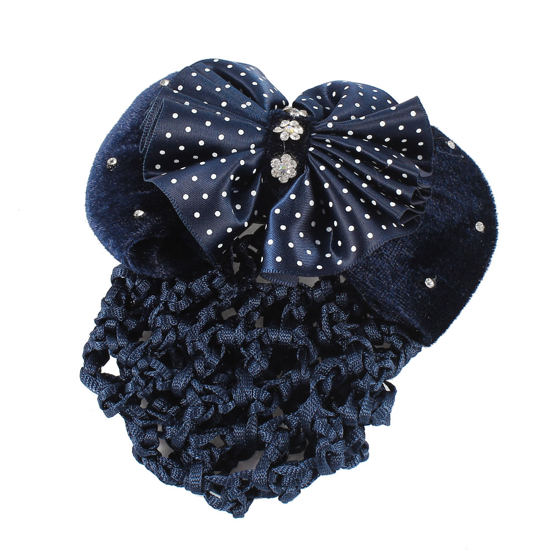 Hairstyle Dark Blue Polyester Bowknot Barrette Hair Clip w Black Snood Net