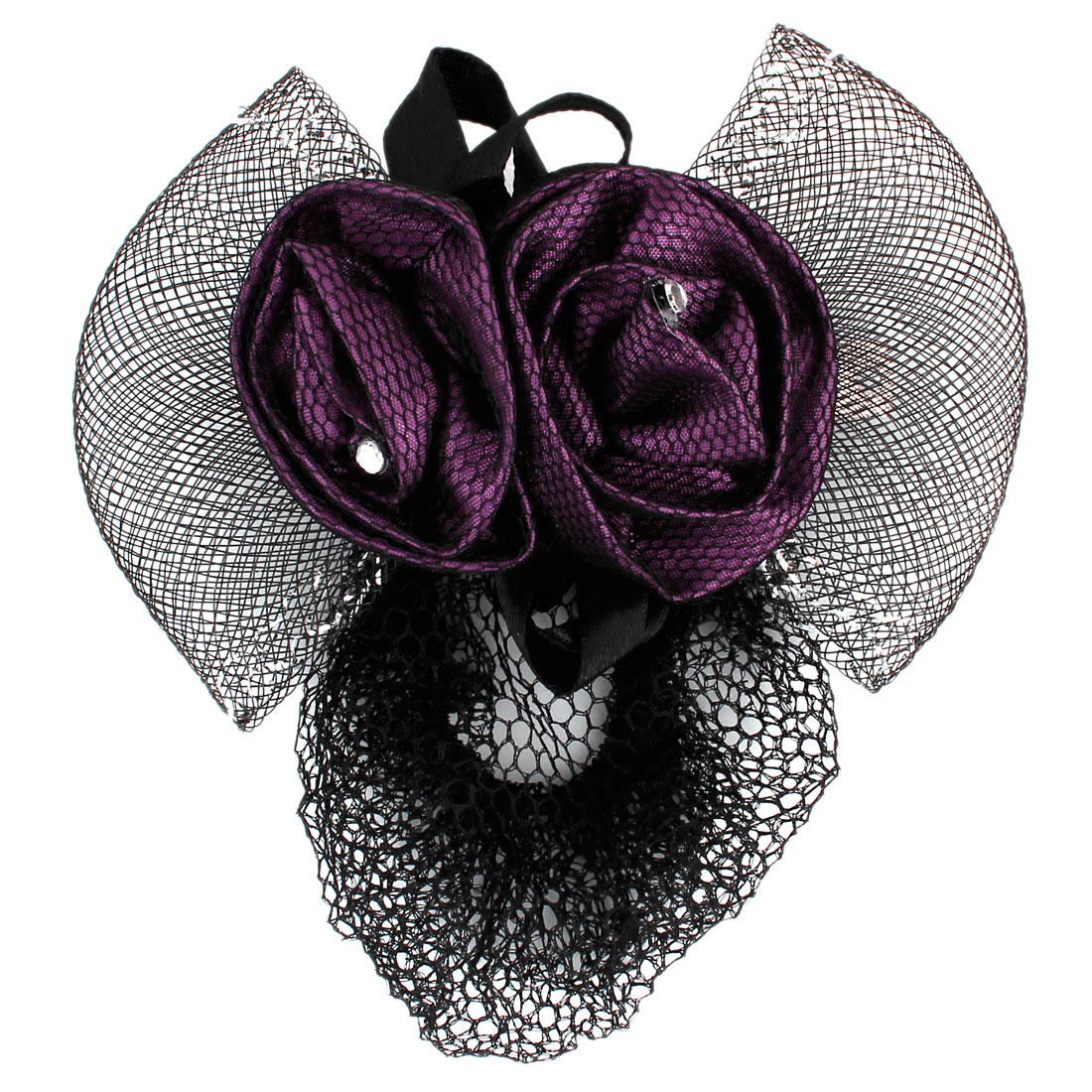 Ladies Flowers Decor Bowknot French Hair Clip Snood Net Barrette Black