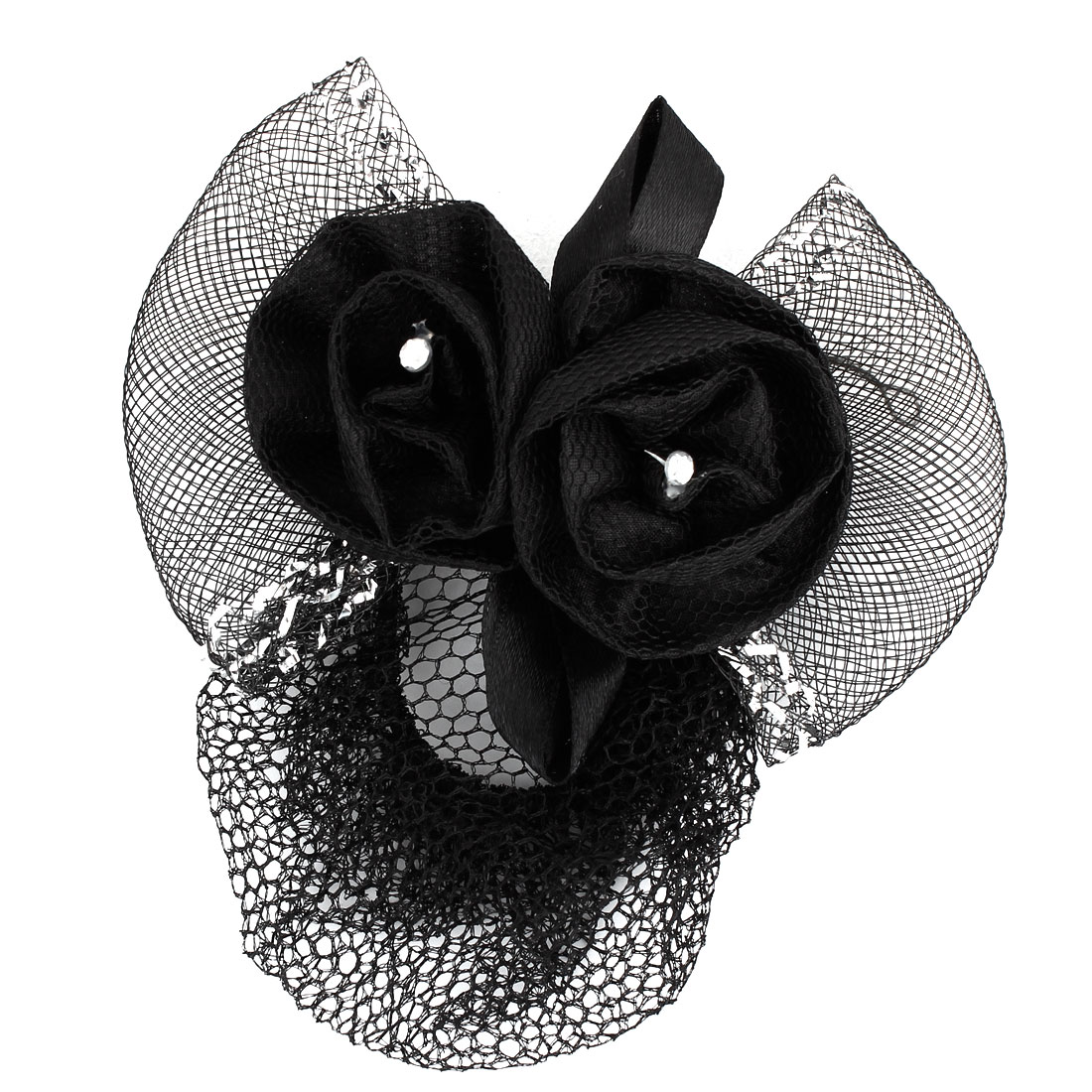 Glitter Thread Accent Mesh Bowtie Design Flower Hair Clip French Barrette Black