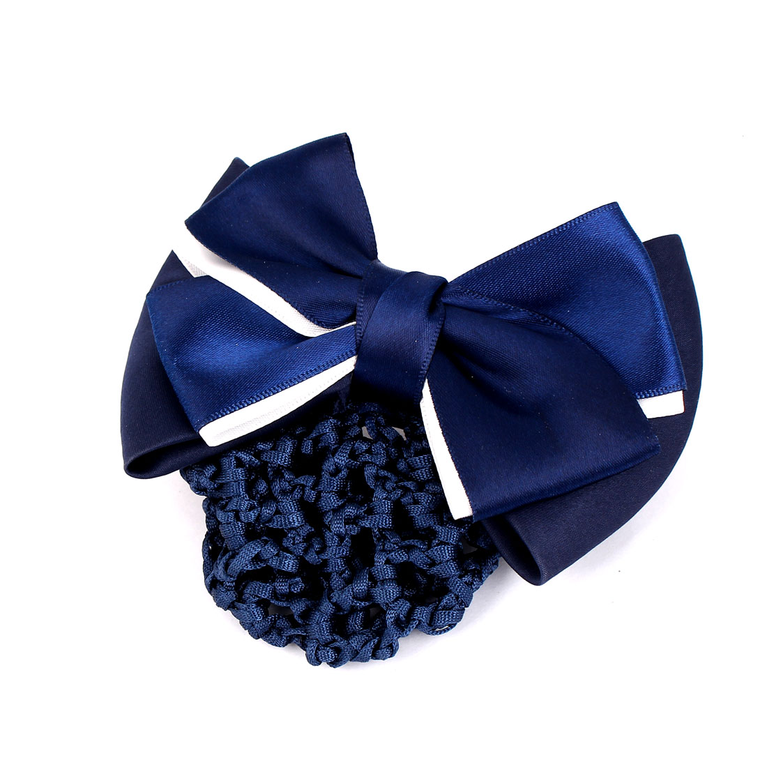 Dark Blue Polyester Two-Layer Bowknot Barrette Hair Clip w Nylon Snood Net