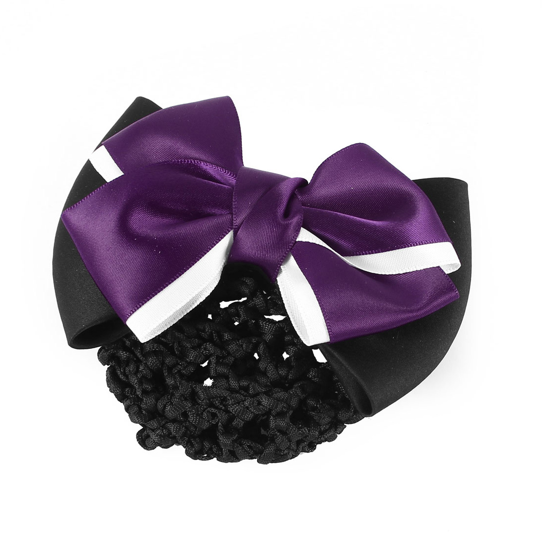 Women Metal 2-layer Bow Shape Snood Net Barrette Hair French Clip Bun Cover Purple Black