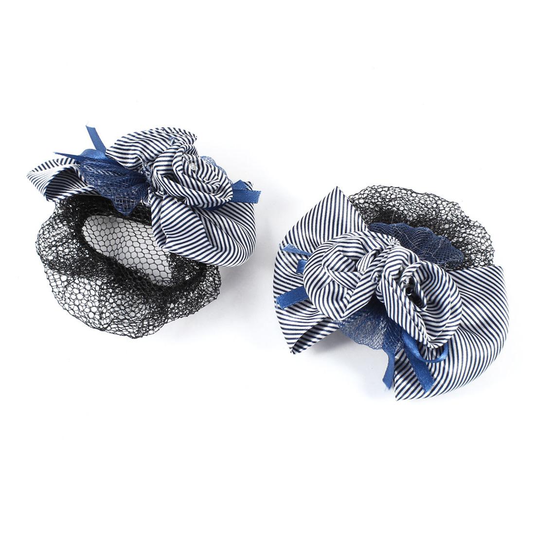 Flower Embellished Bowknot Stripe Print Hair Clip w Snood Net 2pcs