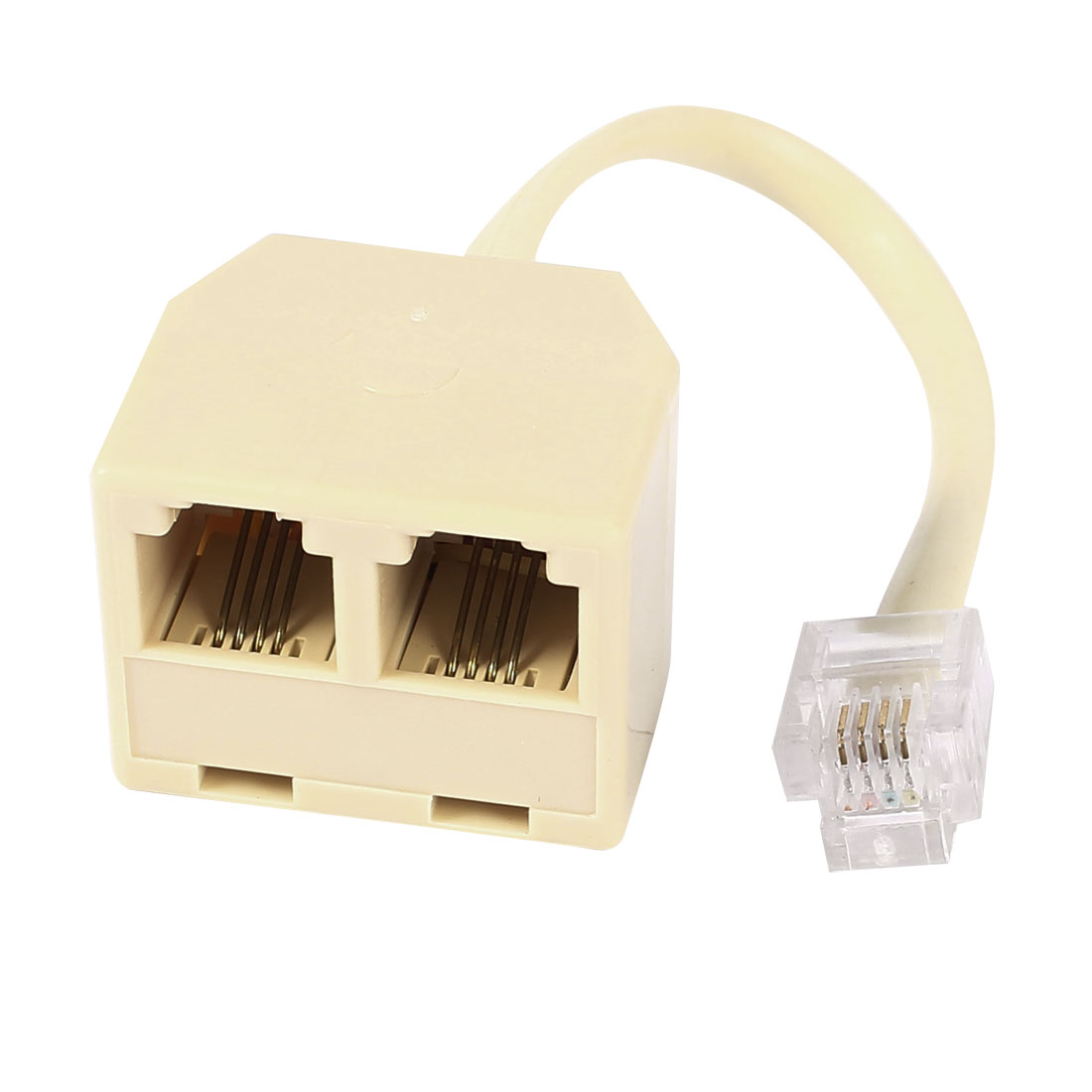 RJ11 6P4C Male to Dual Female M/F Splitter Converter Telephone Adapter Cable Beige