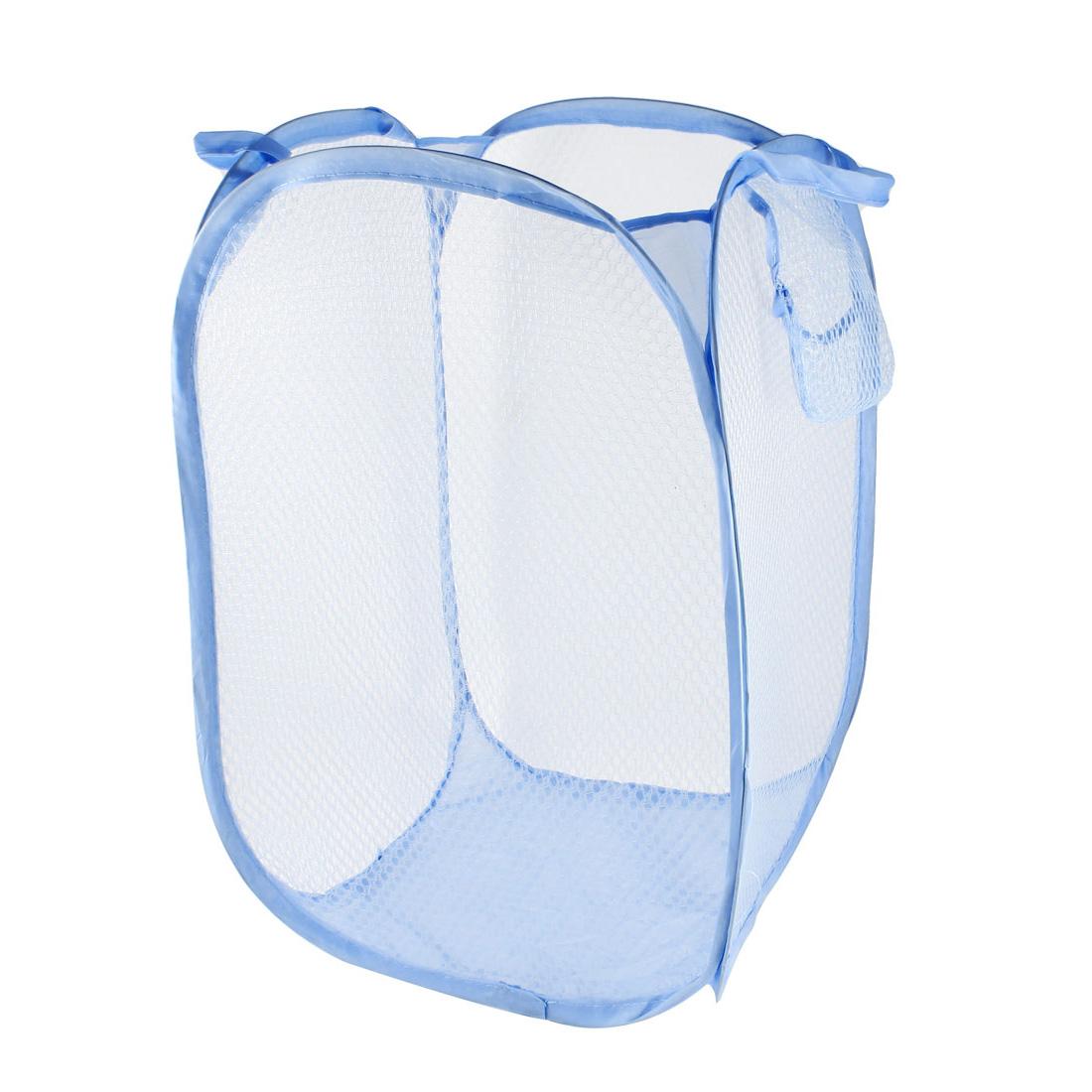 Laundry Bag Basket Pop Up Mesh Hamper Foldable Wash Clothes Storage Bin Blue