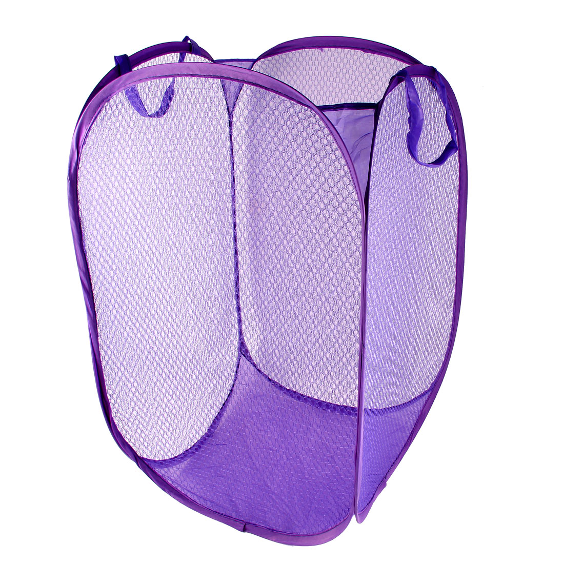Laundry Bag Basket Pop Up Mesh Hamper Foldable Wash Clothes Storage Bin Purple