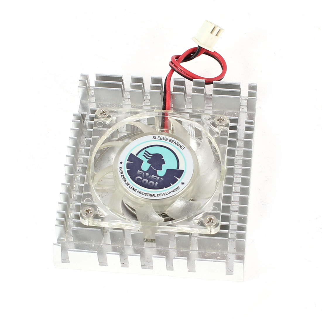 Silver Tone Clear 2 Terminals Connector PC Computer VGA Cooler Cooling Fan Heatsink