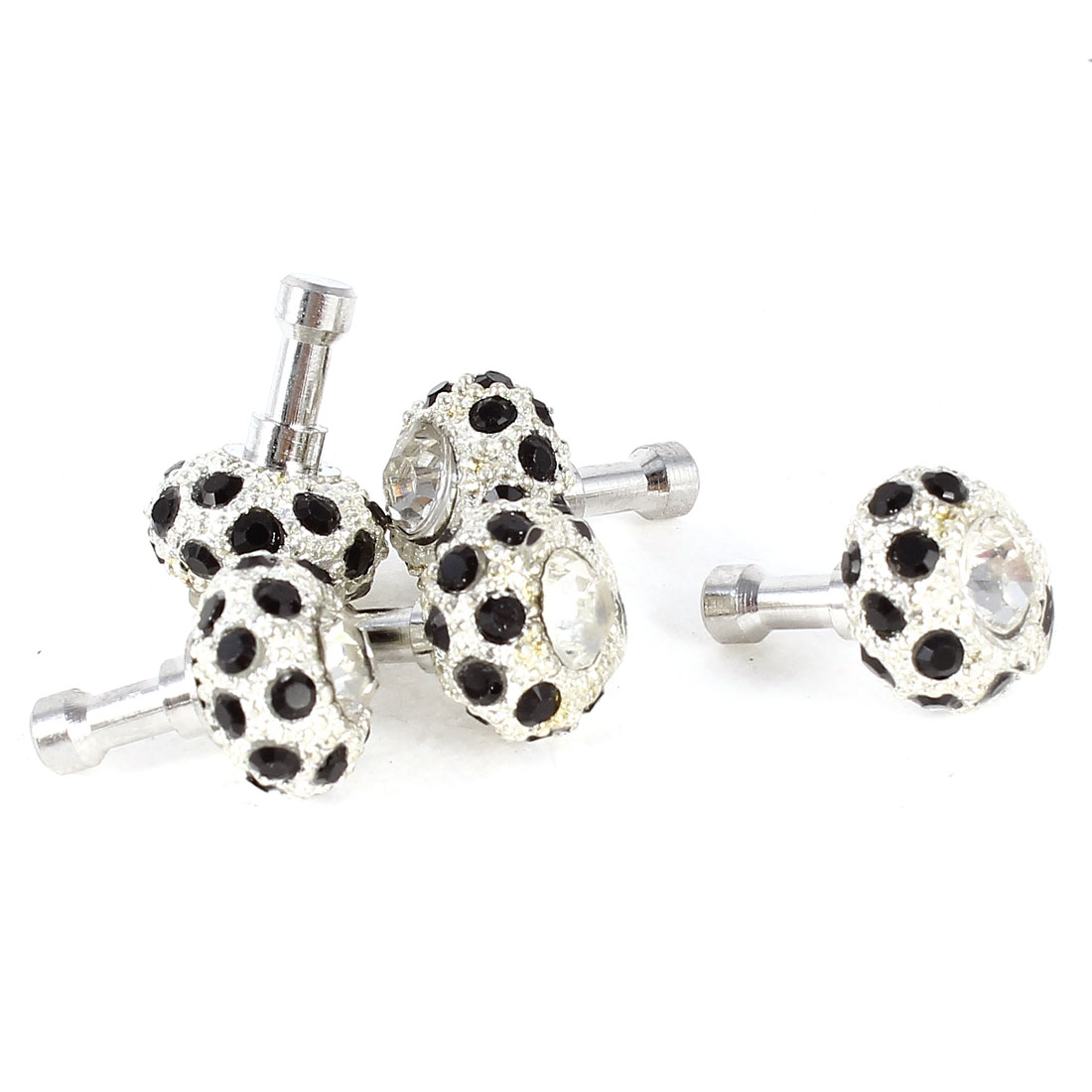 Black Rhinestone Decor 3.5mm Headset Plug Anti Dust Stopper Ear Cap Silver Tone