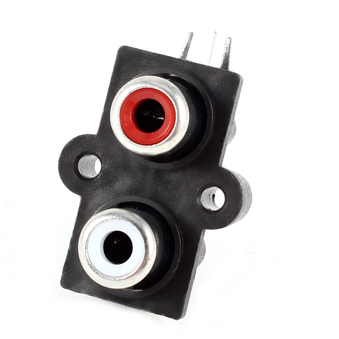 Red White 2 Port RCA Female PCB Jack Audio Video AV Socket Right Angle Connector