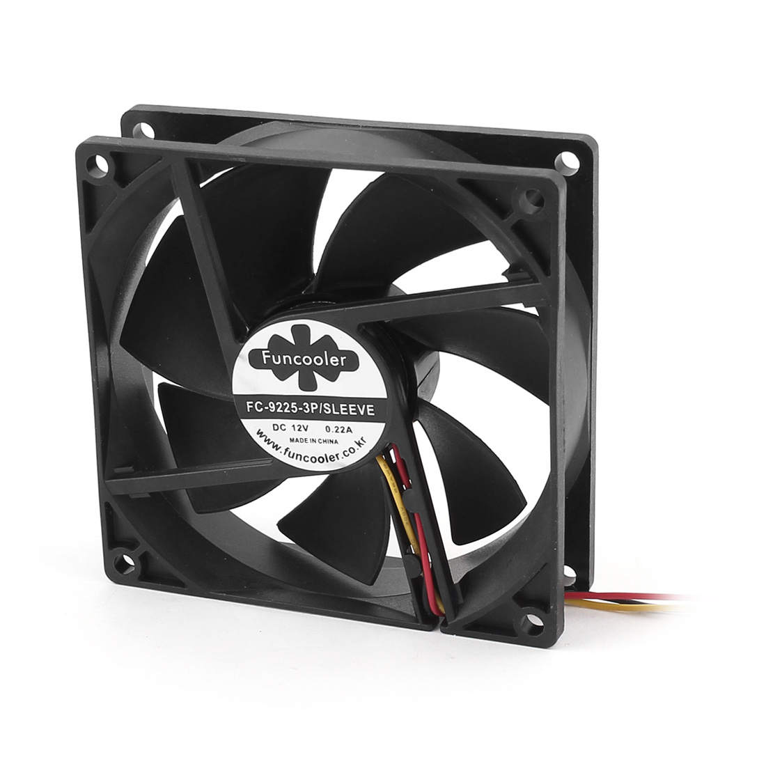 DC 12V 0.22A 90mmx25mm 3-Pin Connector PC Computer Case Cooling Fan Cooler Black
