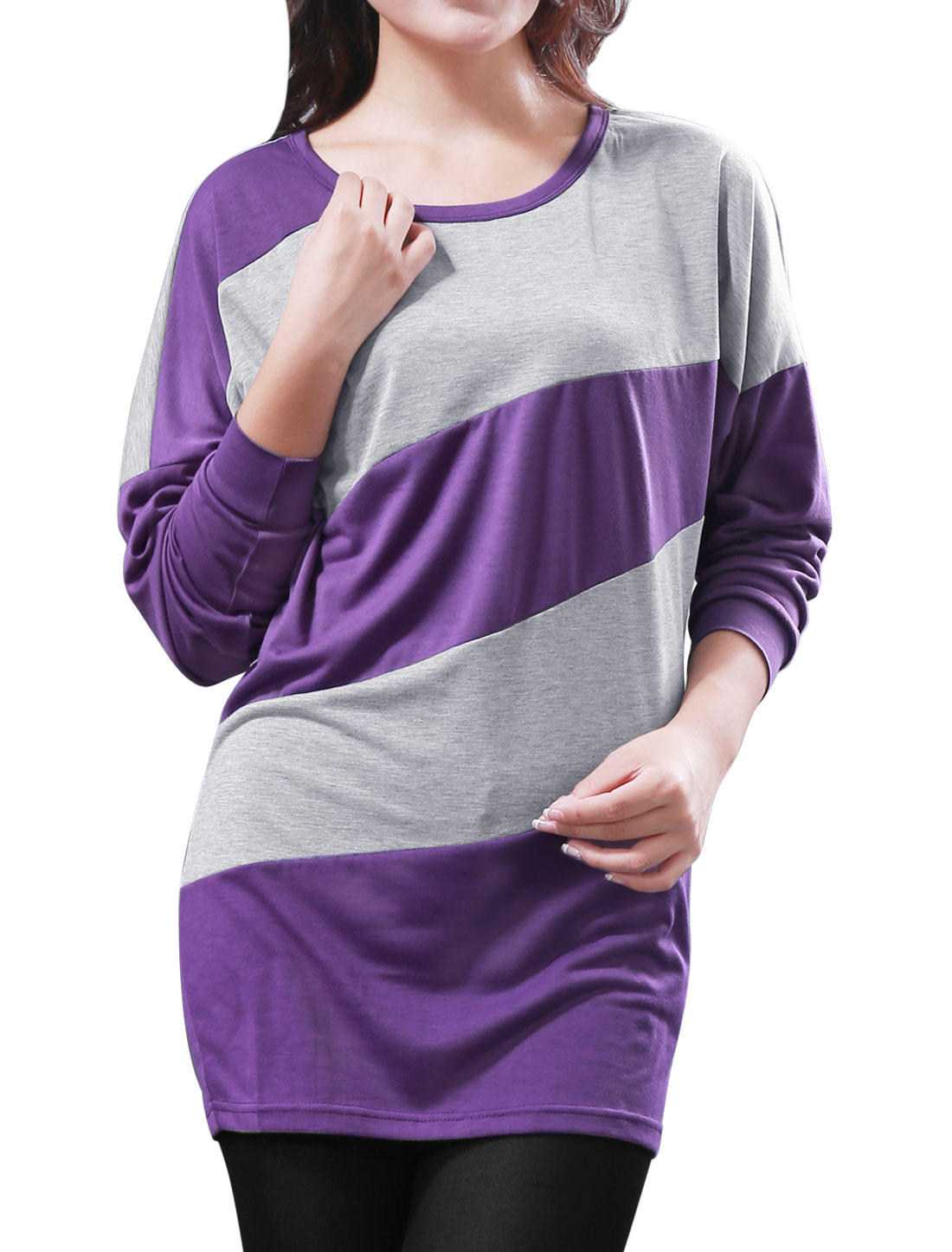 Women Colorblock Long Dolman Sleeved Shirt Purple Gray 1X