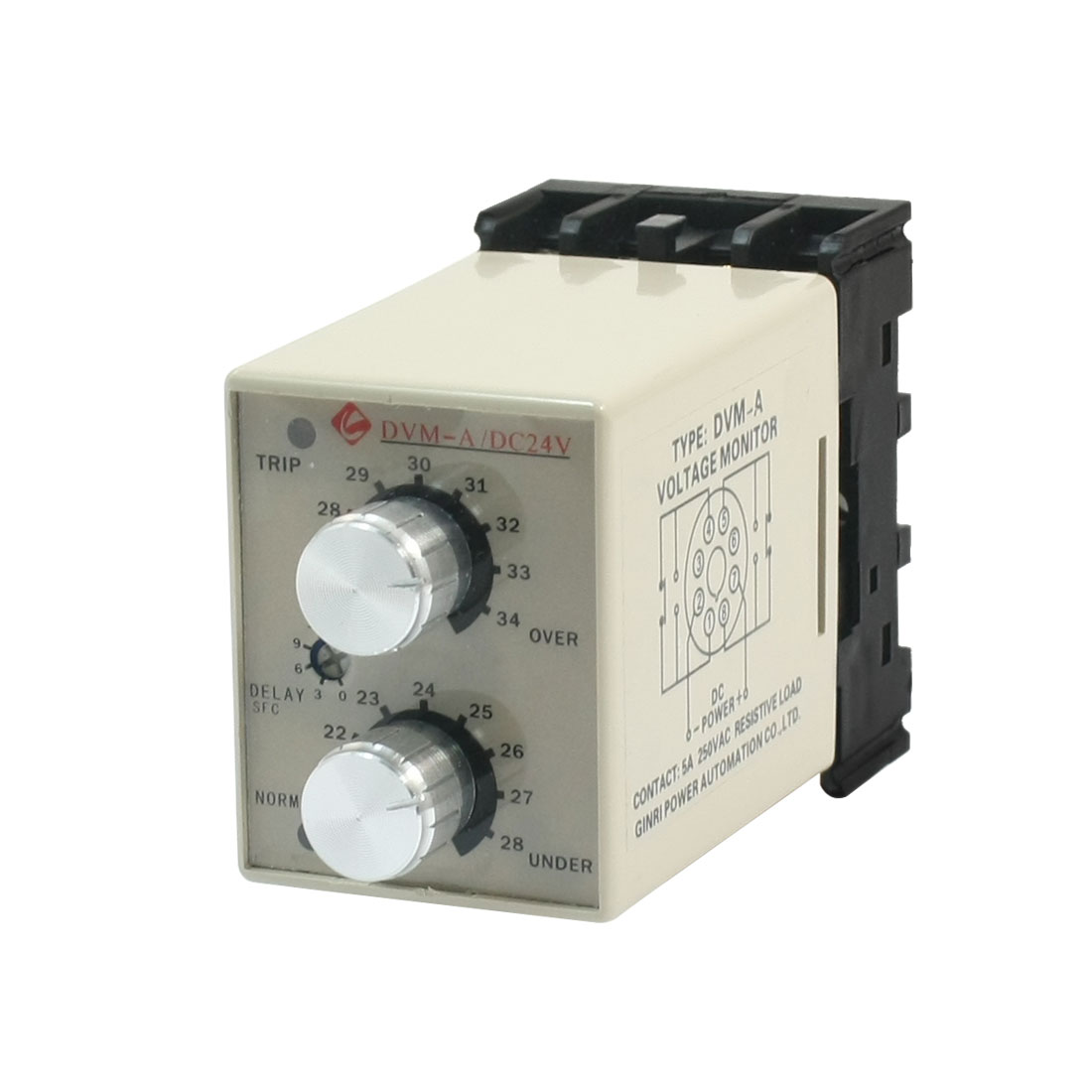 DVM-A/24V DC 24V Tow LED Indicator 35mm Rail Mounting Adjustable Over/Under Voltage Volt Monitor Relay