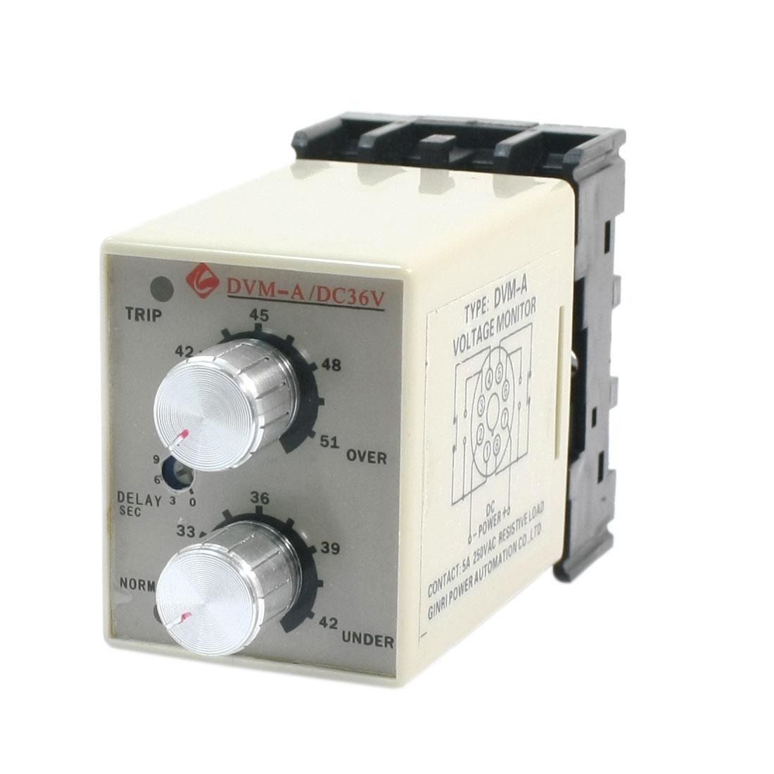 DVM-A/36V DC 36V Tow LED Indicator 35mm Rail Mounting Adjustable Over/Under Voltage Volt Monitor Relay